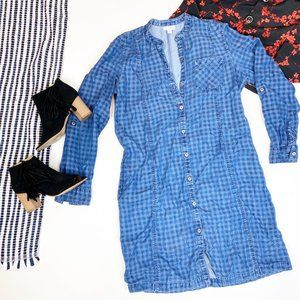 J. Jill Chambray Jean Shirt Dress Button Front S